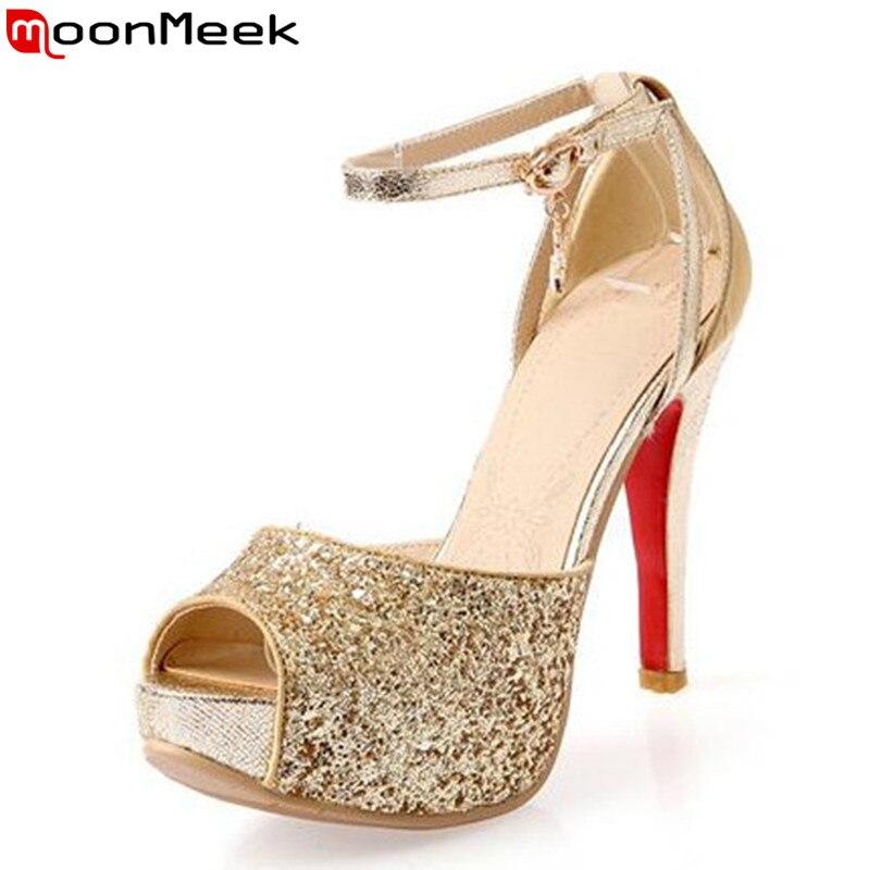 MoonMeek new arrive fashion summer shoes stiletto high heels women sandals peep toe platform gold bridal shoes sexy prom shoes-in High Heels from Shoes    1