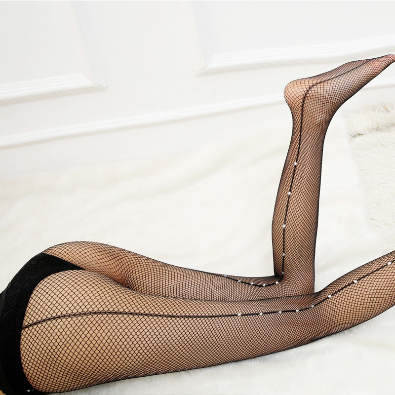 Diamond Lingerie Black Mesh Nylon Pantyhose Fish Net Stockings Hollow Out Erotic Fishnet with Crystals Sexy Back Seam Stockings image