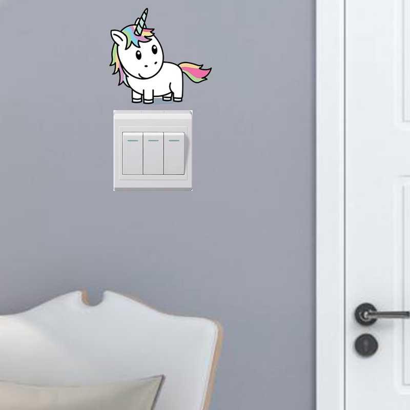 Pegatinas de unicornio con luces de dibujos animados, interruptor de Color, pegatinas de pared para habitación de niños, interruptor extraíble, pegatinas de Arte de pared, decoración del hogar