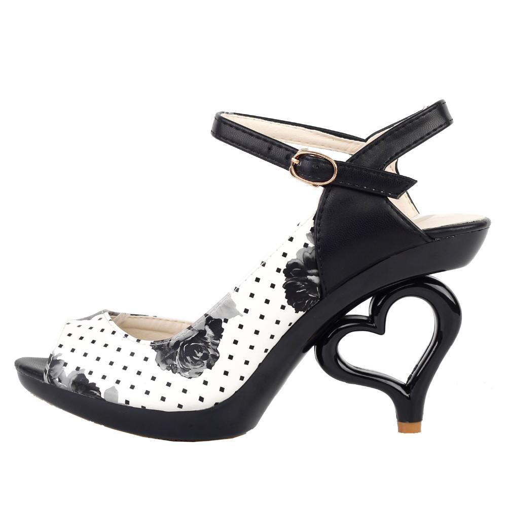 f91b5531a1ad2 LF60809 Sexy Black White Flower Bride Wedding Heart Heels Sandals ...