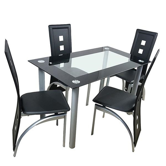Minimalist Morden Style 110cm Dining Table Set Tempered Glass Dining Table with 4pcs Chairs Transparent & Black 1