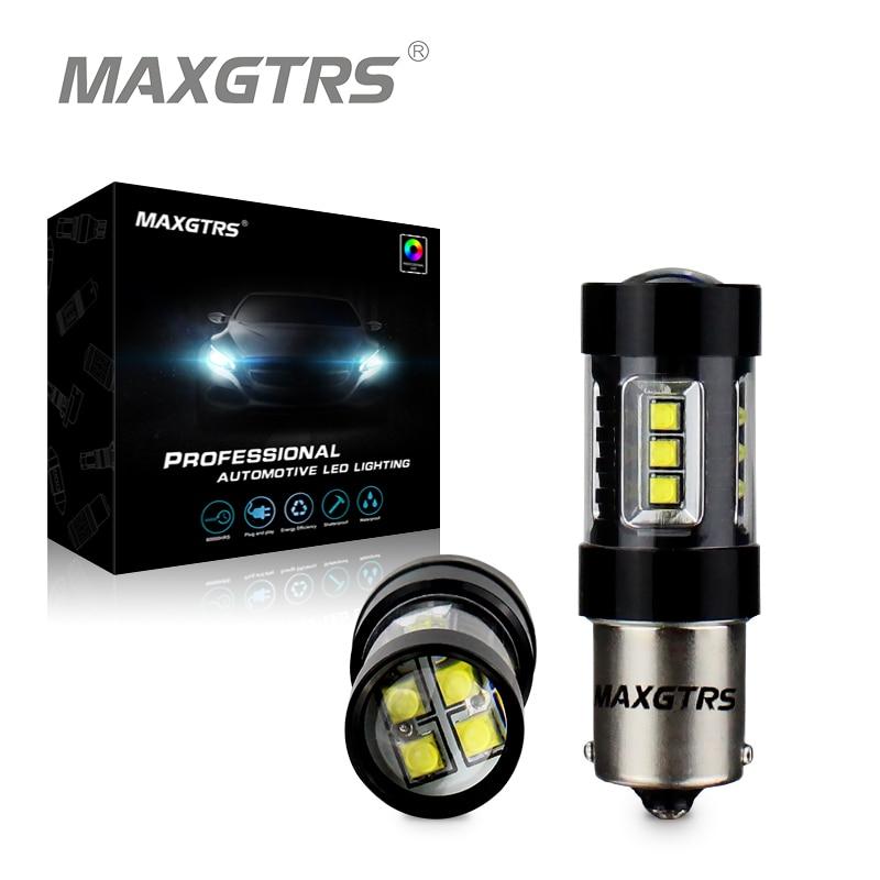 2x80 Вт 1156 S25 BA15S для CREE чип 16SMD 6000 К светодиодные противотуманные лампы ДРЛ ламп белый автомобиль сигнал обратного Свет автомобиля поиска