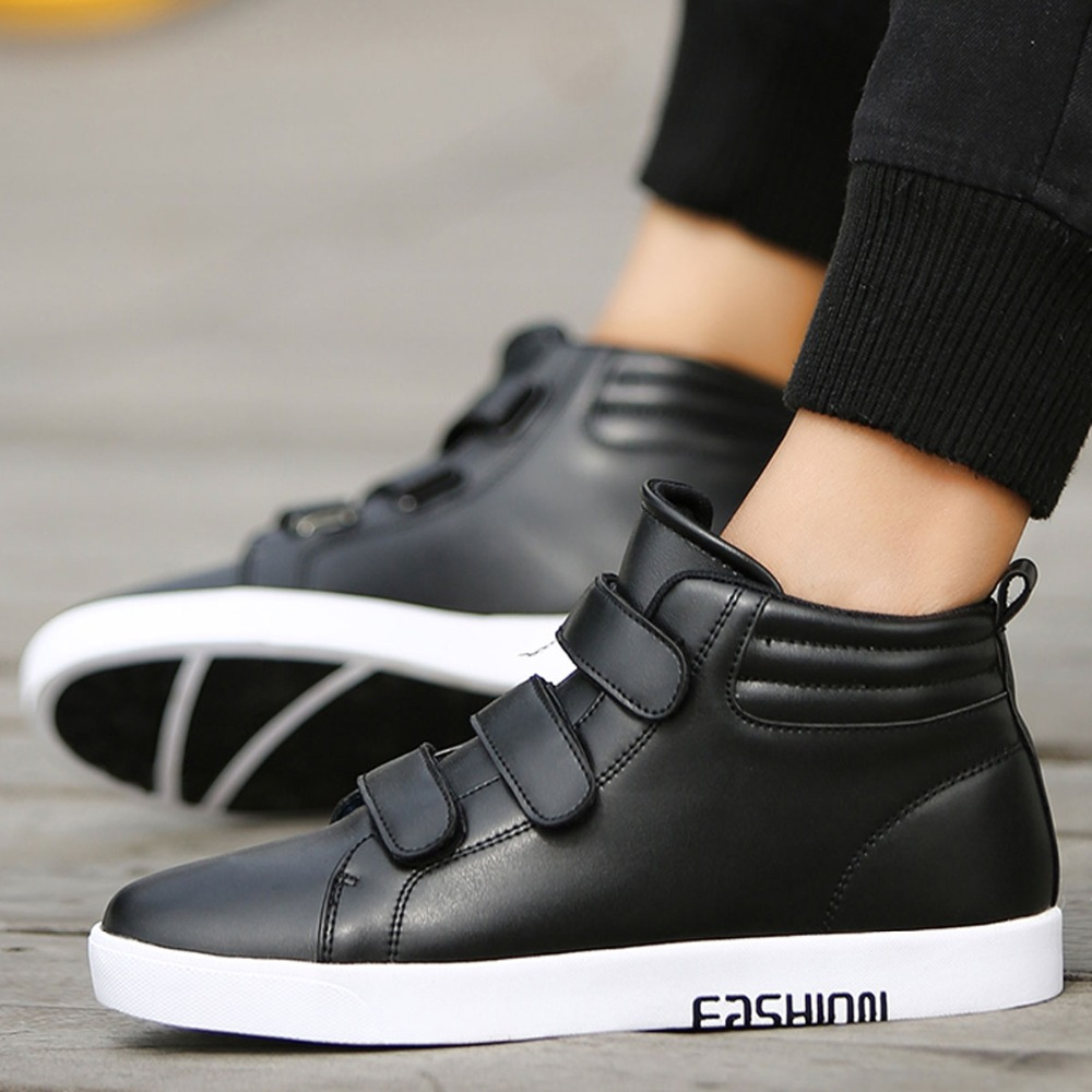 139046682f11 Urban Fashion Quality Leather High Tops Hip Hop Casual Shoes Mens Hook  Straps Skate Shoes Rocky Ankle Boots Flats For Tide Boy-in Men s Casual  Shoes from ...