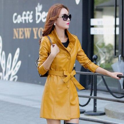 Ms Winter New Collar Jacket 2016 New Lady Big Yards Long PU Coat Lady Locomotive Fur Coat European Ladies   Leather   Jacket