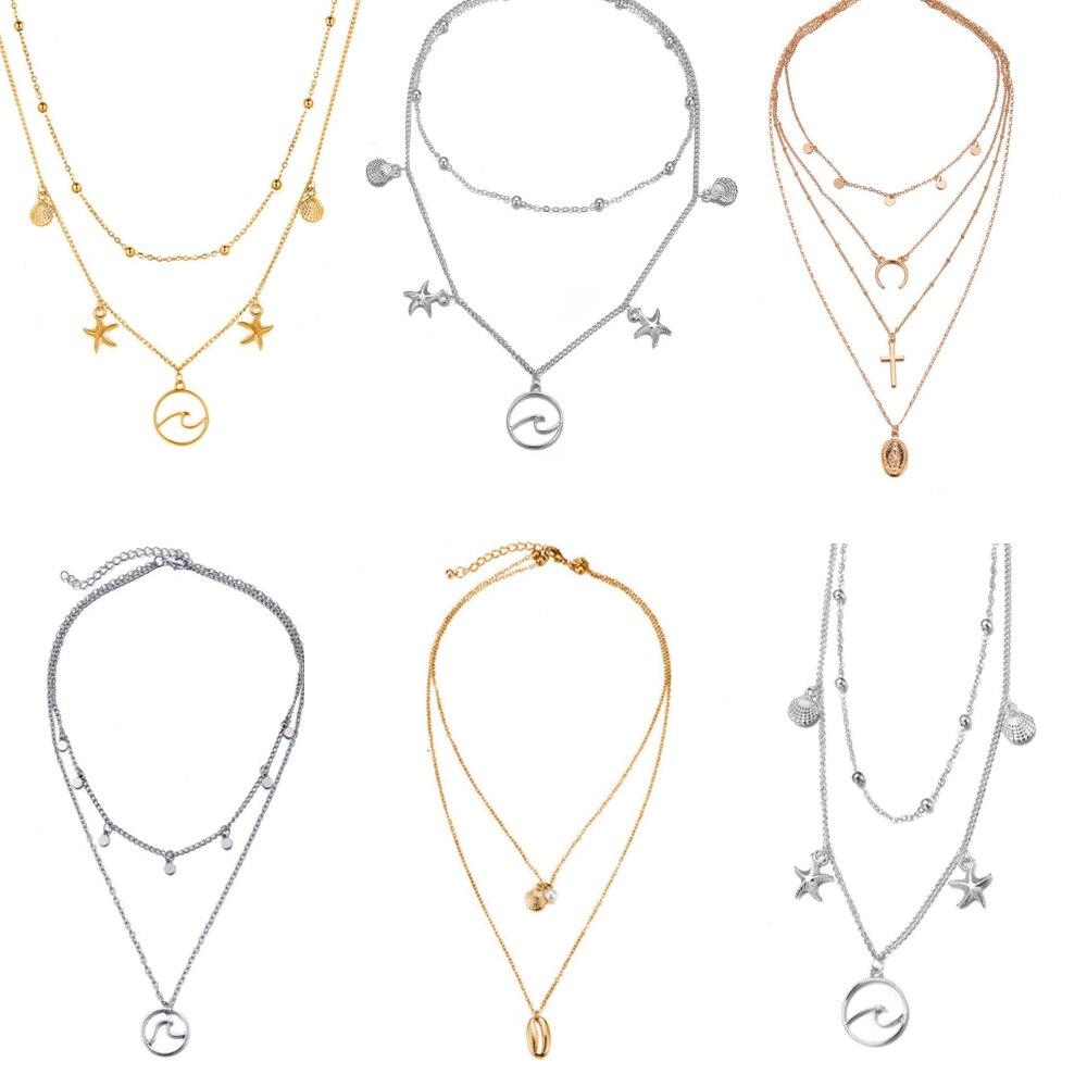 2018 New Boho Cowrie Shell Starfish Necklace For Women Choker Minimalist Beads Chain Multi Layered Necklaces Fashion Jewelry