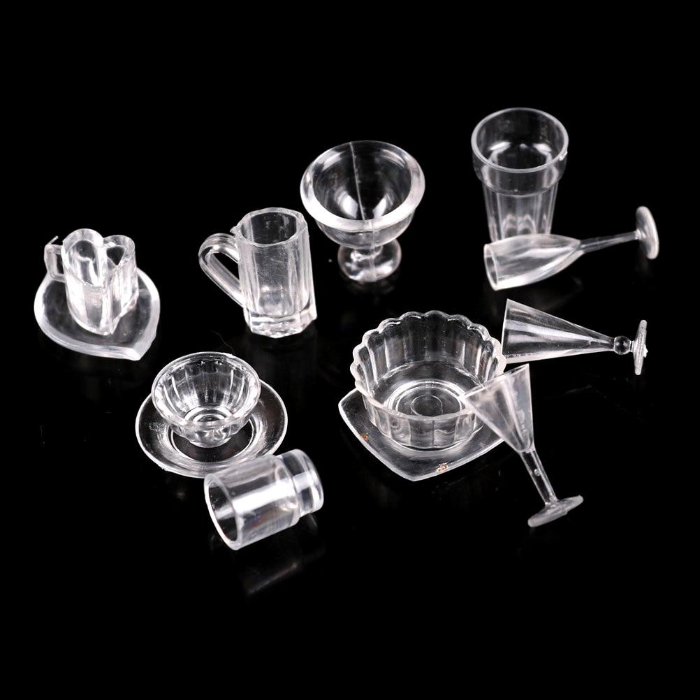 12X Tableware 1:12 Dollhouse Clear Dinner Plate Dish Bowl Set Kitchen Miniature