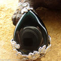 Hot sale new Style >>>>>natural Black agate jewerly Teardrop Flower Pendant Reiki Bead For Necklace