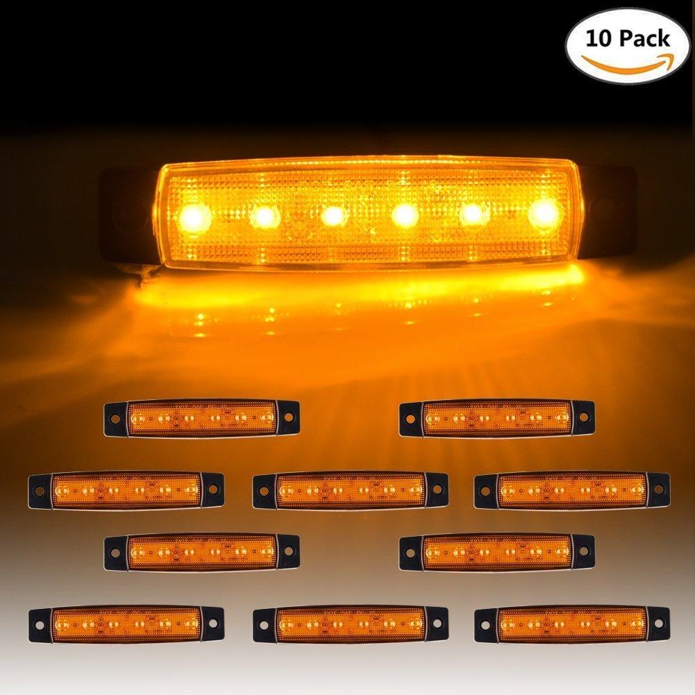 10x Amber 12V//24V 6LED Side Marker Indicators Lights Lamp Truck Trailer JUM