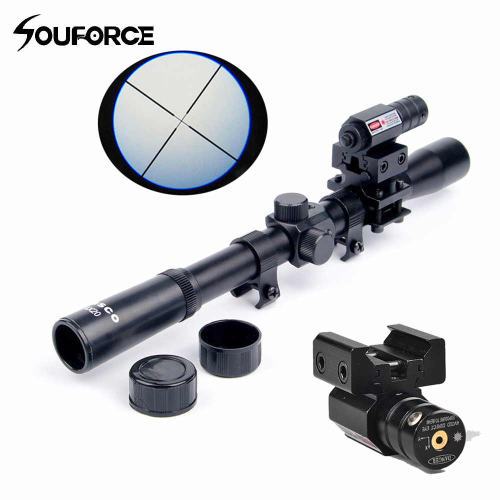 4x20 Rifle Optics Scope Tactical Crossbow Riflescope con mira láser de punto rojo y monturas de riel de 11 mm para 22 cañones de calibre que cazan A