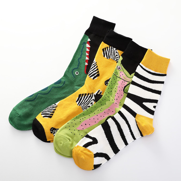 7 Colors Women Happy   Socks   High Quality Combed Cotton Flamingo/Crocodile/Zebra Animals Funny Casual   Sock   1 Pairs