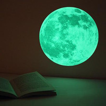 30cm planet luminous wall sticker glow in the dark moon wall decals decoaration wall decor wall stickers for kids room YL012(China)