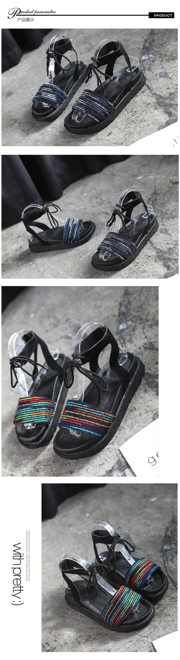 Casual Lace-up Rome Gladiator Women Sandals Solid Ankle Strap Shallow Women Shoes Summer Fashion Flat Sandals 22