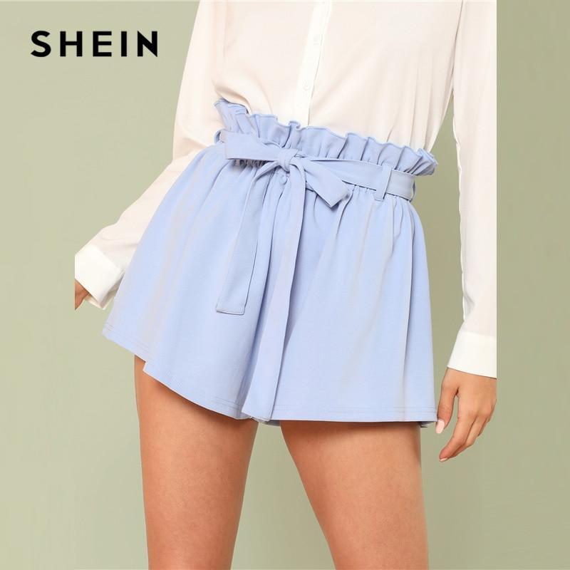 SHEIN Bohemian Ruffle Trim High Waist Shorts