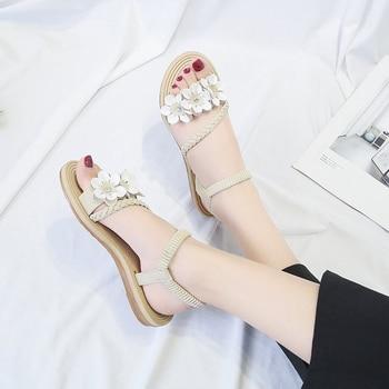 Summer Shoes Woman Sandals Elastic ankle strap Flat Sandalias Mujer 2019 Flowers Gladiator Beach Sandals Ladies Flip Flops 2