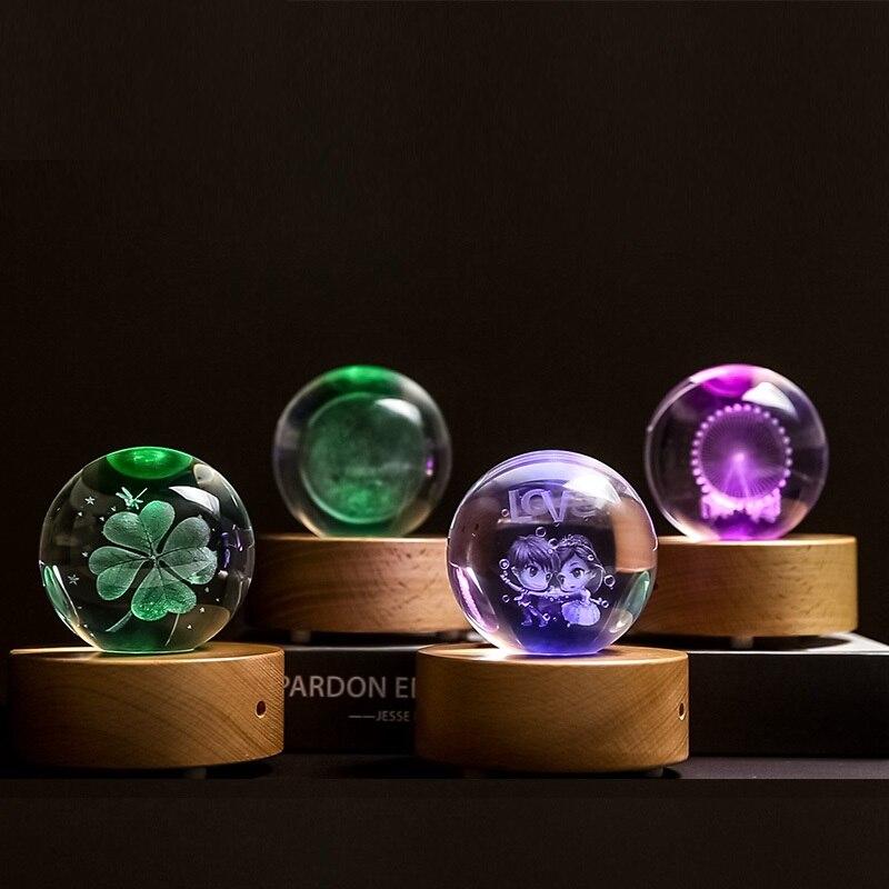 Personnalisé 3D Gravé Au Laser Cristal Boule De Verre De Quartz Sphère Miniatures Cadeaux Cadeau De Noël Accepter Personnalisé Photo