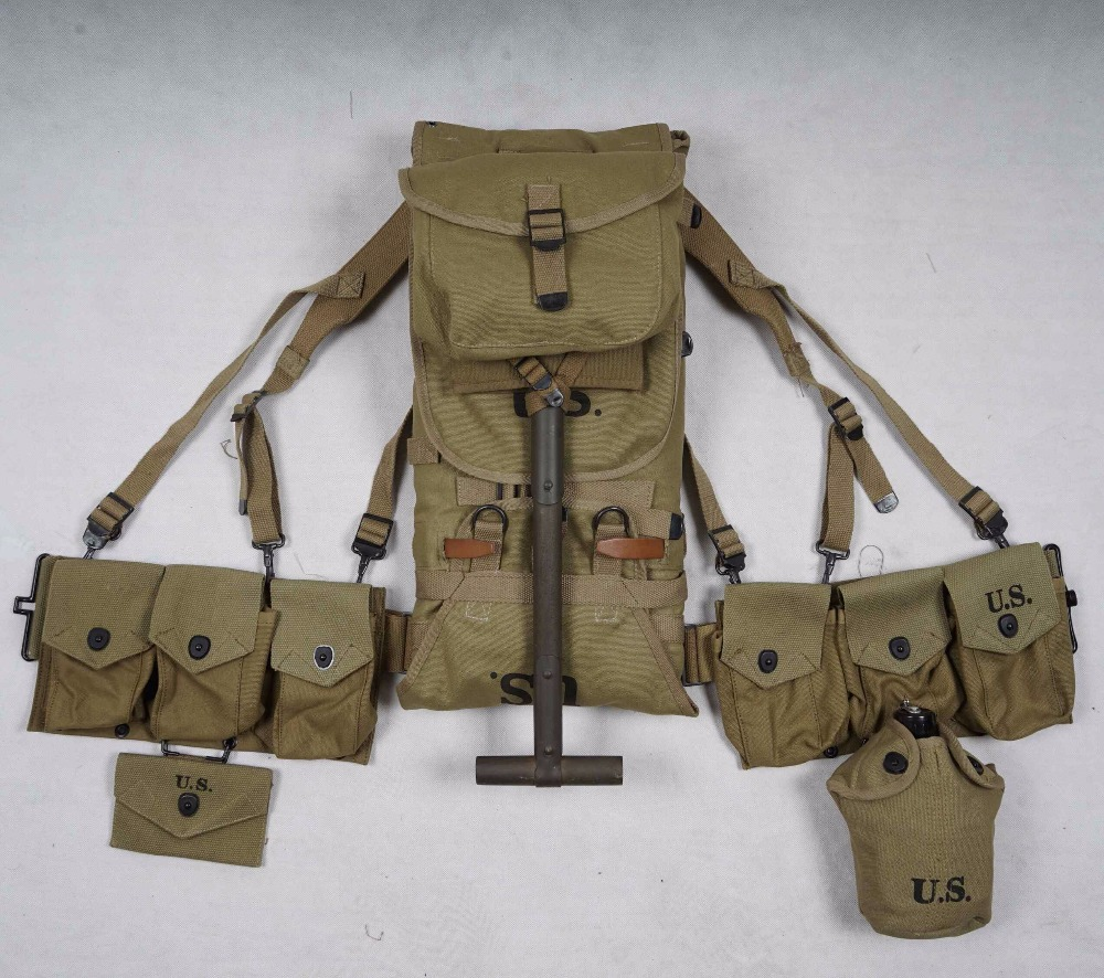 BELT WWII SPADE Us-Army POUCH Soldier-Equipment WW2 X-Type MILITARY AND M1928-Bag Six-Cell