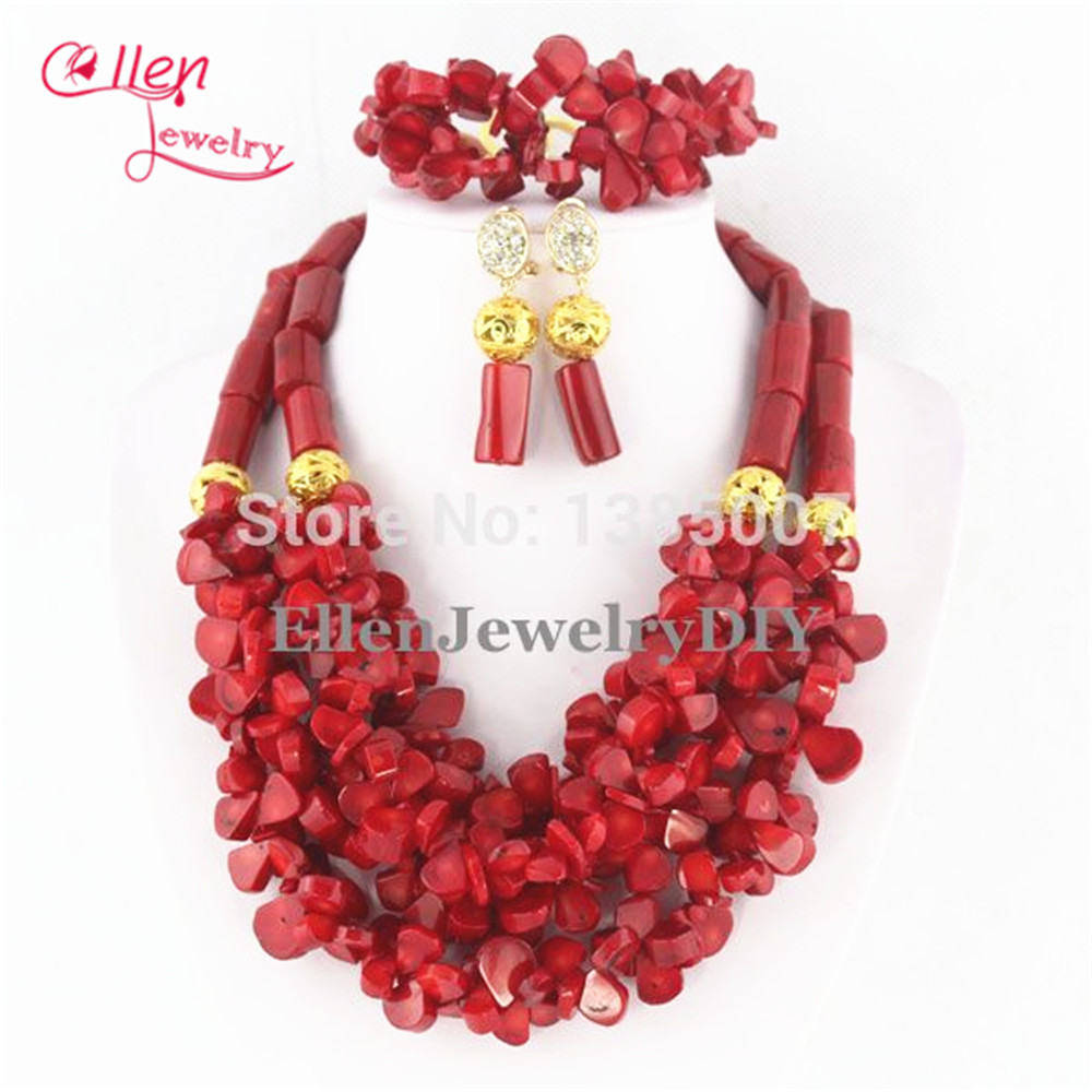 Luxury Nigerian African Wedding Beads Sets Red Coral Beaded Jewelry Set Necklace Bracelet Earrings TL1186 costume african red coral beads necklace bracelet earrings jewelry set nigerian wedding jewelry sets free shipping cj240