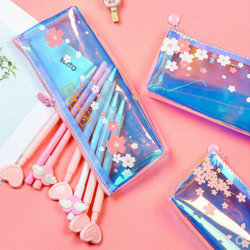 Newest Trendy Casual Fashion Candy Colors Women Laser Transparent Pencil Case Cosmetic Makeup Bag Pouch Supplies Student Gift