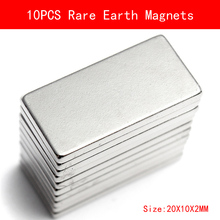 10Pcs N35 20*10*2MM Super Strong Neodymium Magnet Block Cuboid Permanent Rare Earth Magnets N35 цена 2017