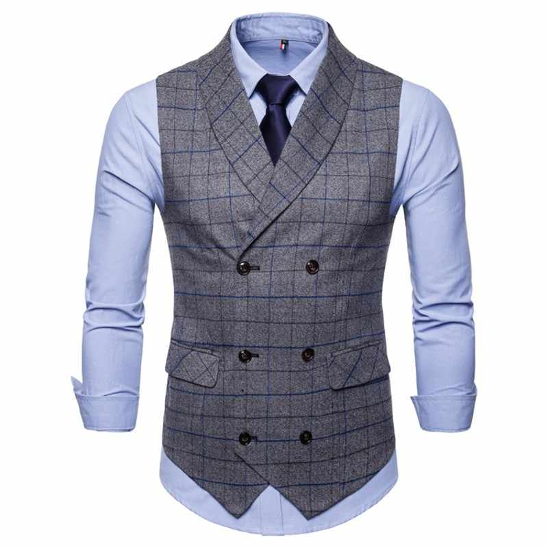 Blue Waistcoat Tweed Tuxedo For Men Navy Wedding Heren Male Casual Gilet British Style Vest 2018 Suits Business Fomal DH2EYIWe9