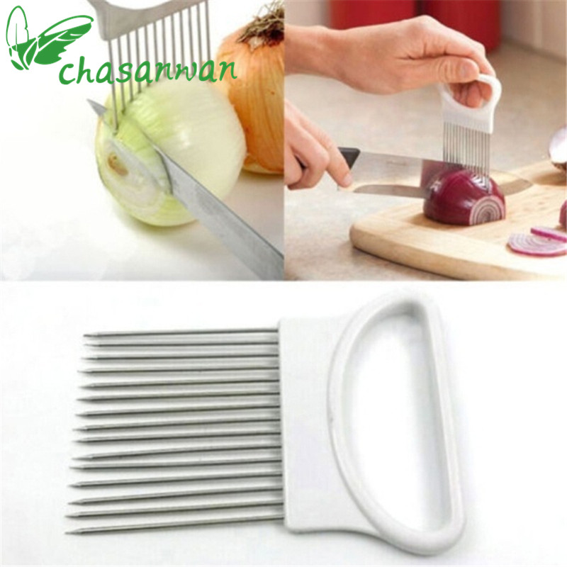 Kitchen Accessories Onion Slicer Cut Onion Holder Fork Tomato Vegetable Slicer Cutting Aid Guide Holder Fruit Cutter Cooking.L