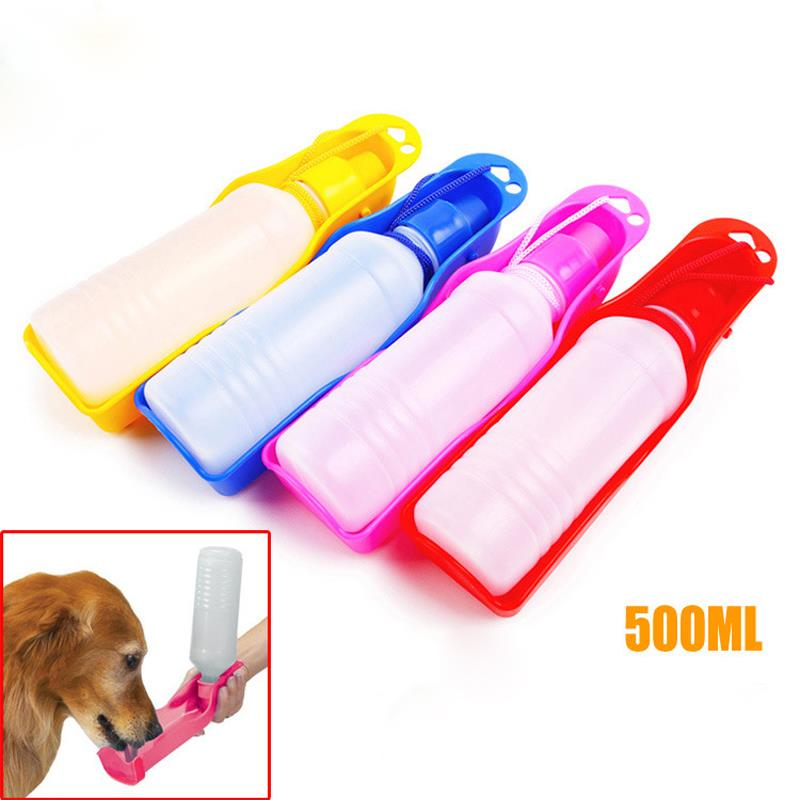 500 ML Hot Portable Pet Cat Dog Feeding Bottle Bebida de agua Al aire libre Viajar Muticolor suministros colgantes botellas de boca suave
