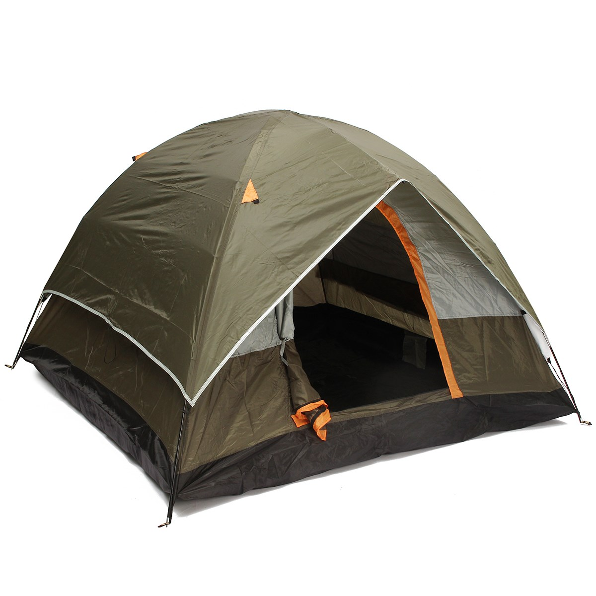 200*200*130cm Oxford cloth 190T polyester PU waterproof coating 4 seasons 4 people double layer outdoor camping hiking tent 4 200 4 200 500