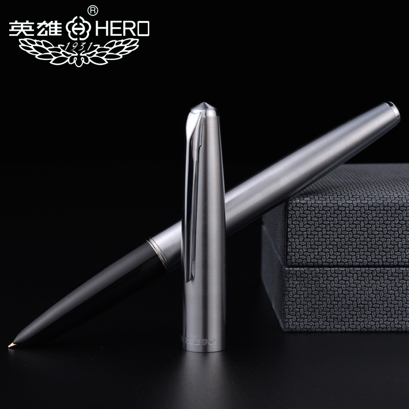 All-Steel old factory genuine hero 100 steel 14K nib Classic antique teacher collection calligraphy gift box pen pimio