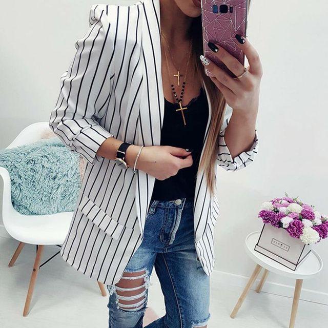 Z Autumn Long Sleeve Slim Fit Fashion Casual Blazers 2018 Office Lady striped Blazer Open Front Ladies Coat Women Formal Jackets 2