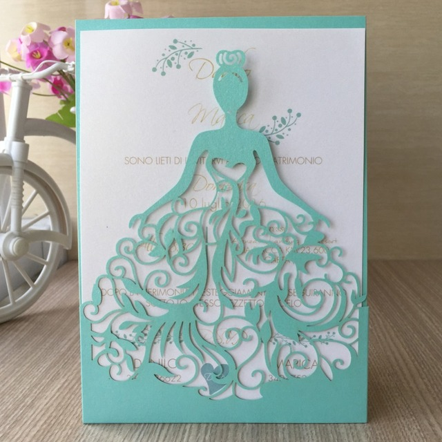12 Teile Los Großhandel Schöne Tiffany Blau Laser Cut Einladungen