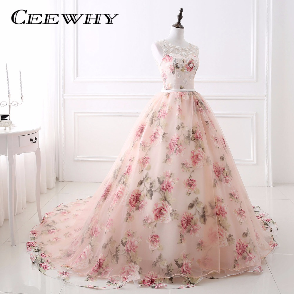 CEEWHY Sleeveless Floral Print Evening Dress Ball Gown Party Elegant ...