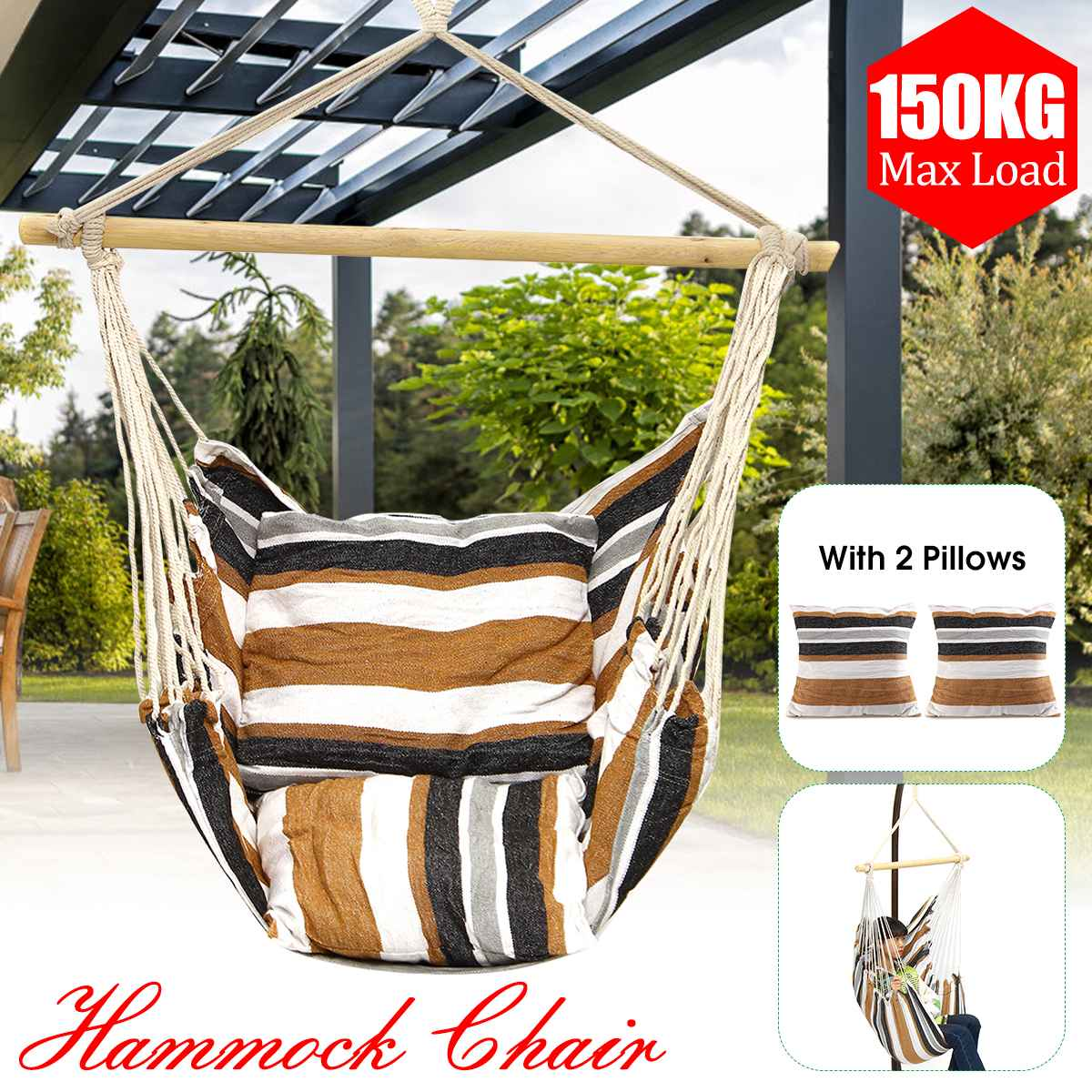 Hammock Hanging Chair Outdoor Indoor Furniture Garden Swing for Adult Children Swinging Chair w/Pillows Wooden Stick