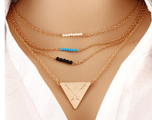 623 European Famous Brand Style Multilayer Metal Beads Tassel Chain Temperament All-match Women Choker Necklace N3770(China)