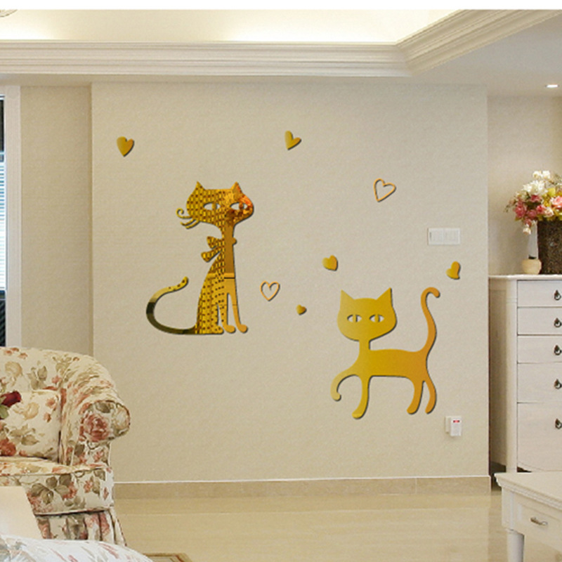 creative dining room background cute cats wall stickers silver