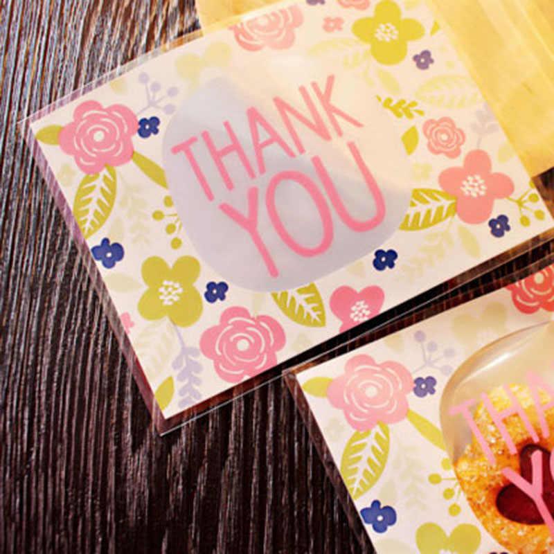 Bộ 50 100PCS 10*13cm Cảm Ơn Bạn Nhờ Kẹo Bánh Quy Túi Tiệc Cưới Ngày Lễ Tạ Ơn Tặng Túi nhựa Bánh Quy Bao Bì Túi