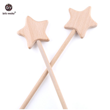 Let's Make Montessori Toys 2pc  Beech Wooden Star Fairy Bar Nursing Gifts Play Gym Rattle Calm Baby Emotions Product Gifts Toys