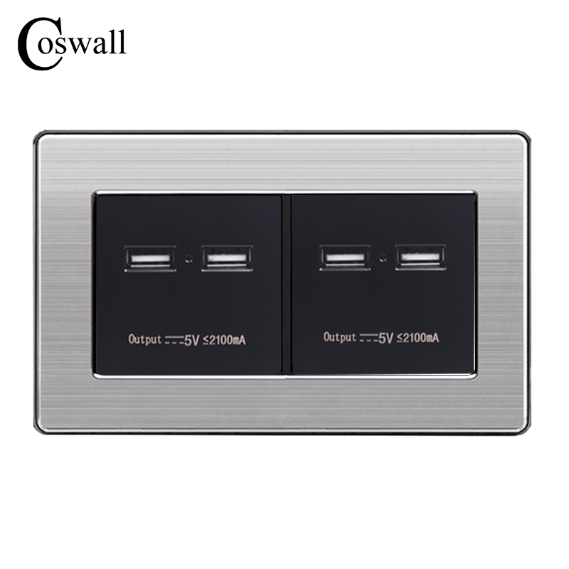 COSWALL Wall Socket 4 USB Smart Induction Charge Port For Mobile 5V 4.2A Output Maximum LED Indicator Stainless Steel Panel nobrand ob 5