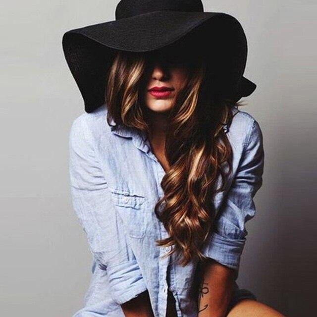 15925 New fashion floppy wide brim hat women wool hats summer beach sun  straw hat cloche 50d171ca114