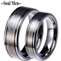 1 Pair Lovers Wedding Band for Men & Women Silver Color Tungsten Carbide Scratch Proof Rings Set 8mm for Boy 6mm for Girl
