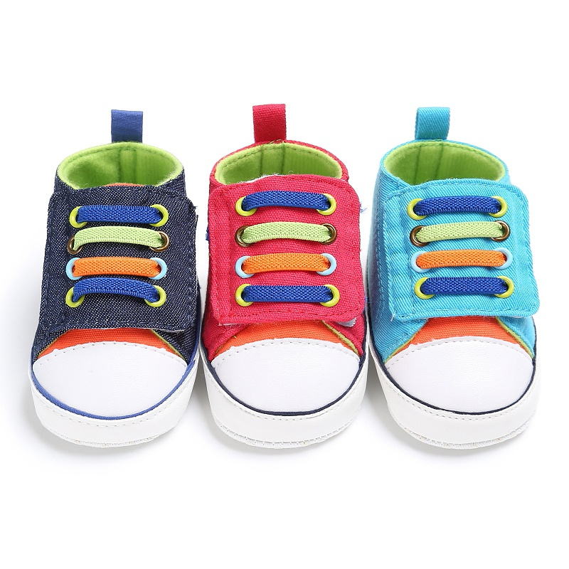 2017 New Style 0-18M Color shoelaces Casual Sneaker Baby Shoes Baby Boy Girl Soft First Walkers Shoes