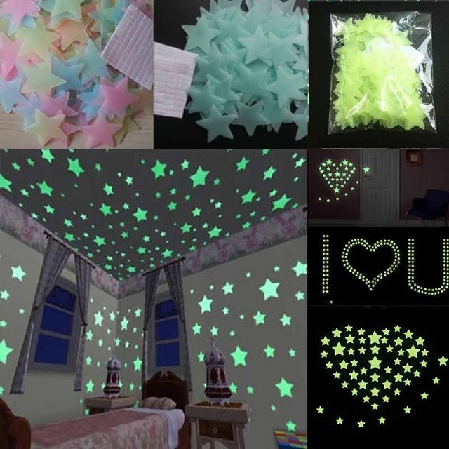 Hot New 100pcs Lot Glow Wall Stickers Decal Baby Kids Bedroom Home