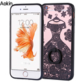 Aokin Lace Flower Black Skirt Phone Case For iphone 7 Plus Sexy Beautiful Datura Floral For Iphone 6s 6 Plus Case With Holder