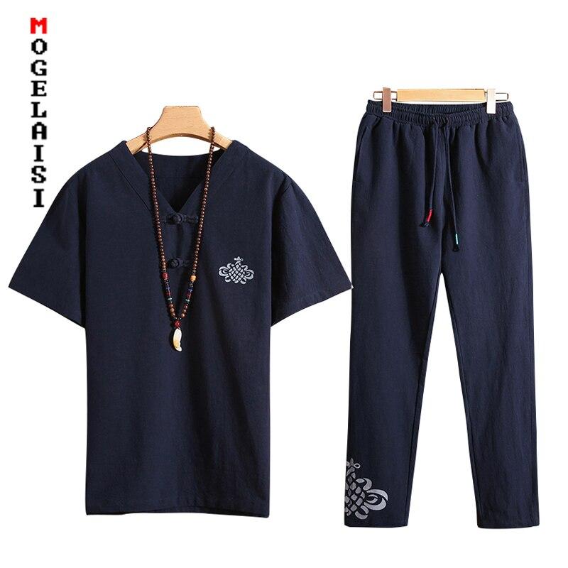 8fdc20694 Nuevo conjunto casual de manga corta para hombre 2 piezas + Pantalones 2019  trajes de verano ...