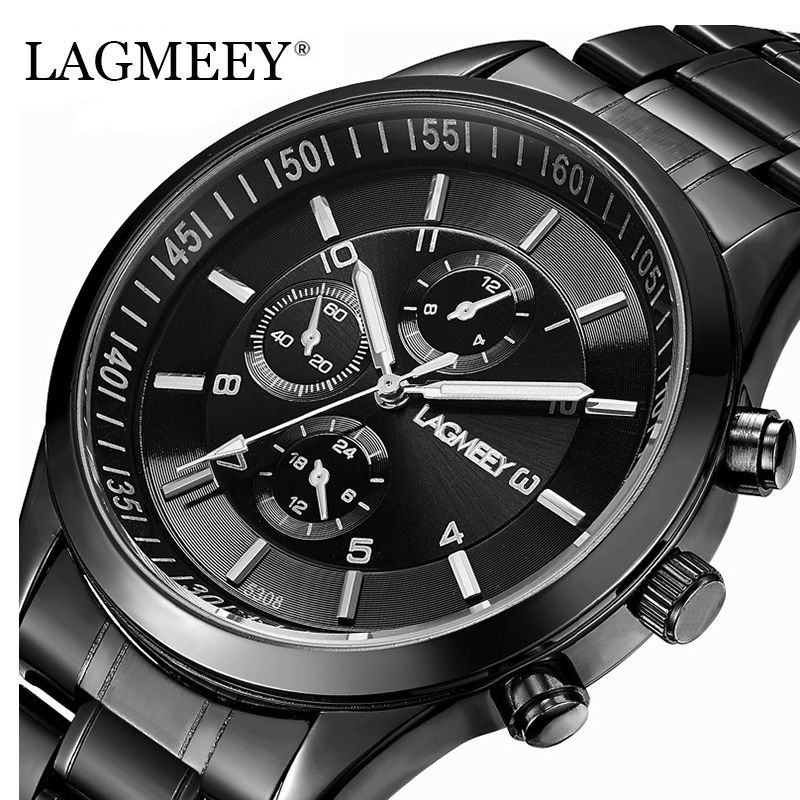LAGMEEY Brand Black Metal Men Watch Vandtæt Rustfrit Stål Watch Military Quartz Armbåndsur til Mænd Ur Army Relogio Ny