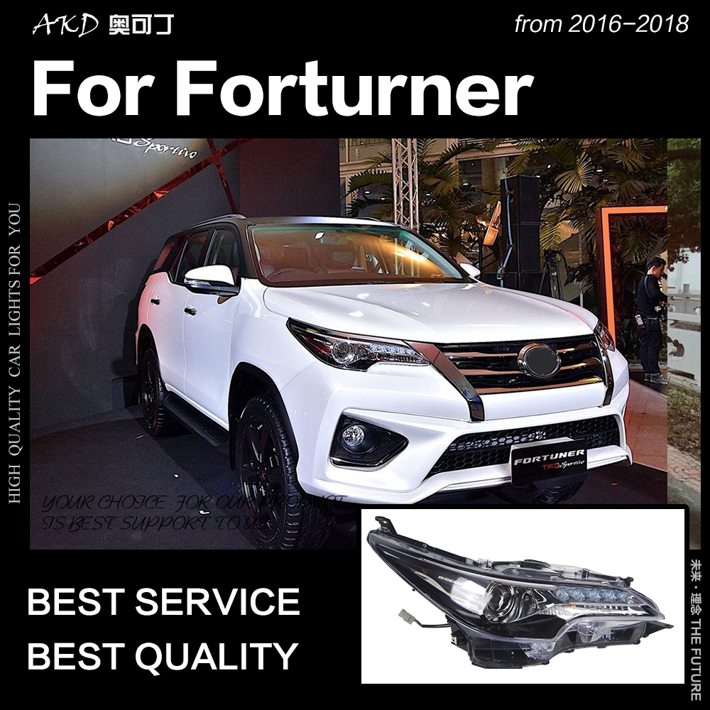 AKD Voiture pour Toyota Fortuner Phares 2016-2018 Tous phare LED LED DRL Lampe Frontale D'oeil D'ange Bi Xénon Accessoires