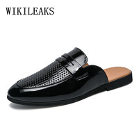 designer slippers leather shoes men shoes luxury brand loafers mens shoes mule masculino mules hommetenis feminino casual terlik