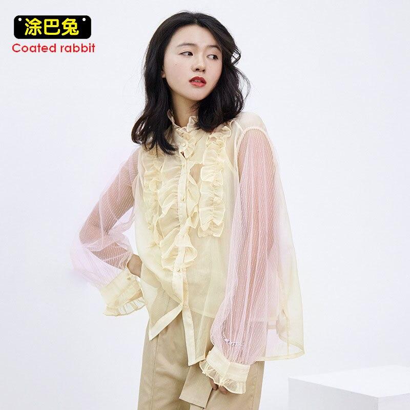CR 2018 Sexy See-through Mesh Blouse Fashion Women Top Ruffle Long Sleeve Chiffon Shirt Ladies Clothes