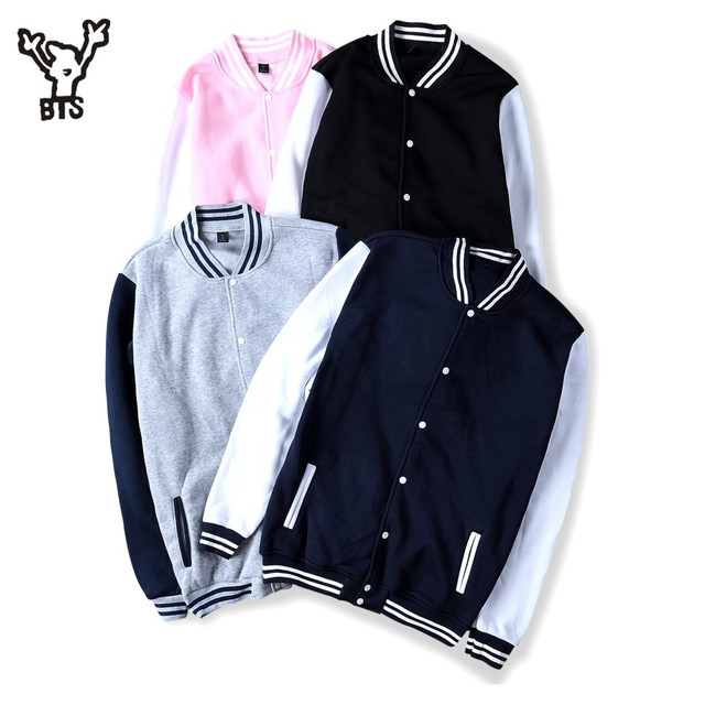 BTS 2017 Winter Baseball Jacket Men Sweatshirt College Sportswear ...