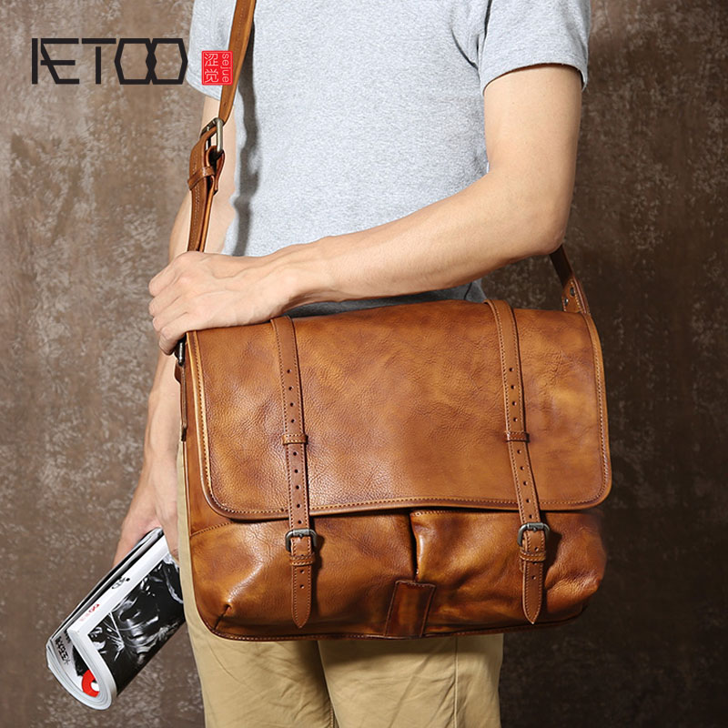 AETOO Imported hand made tanned leather retro messenger bag male package original design leather shoulder bag