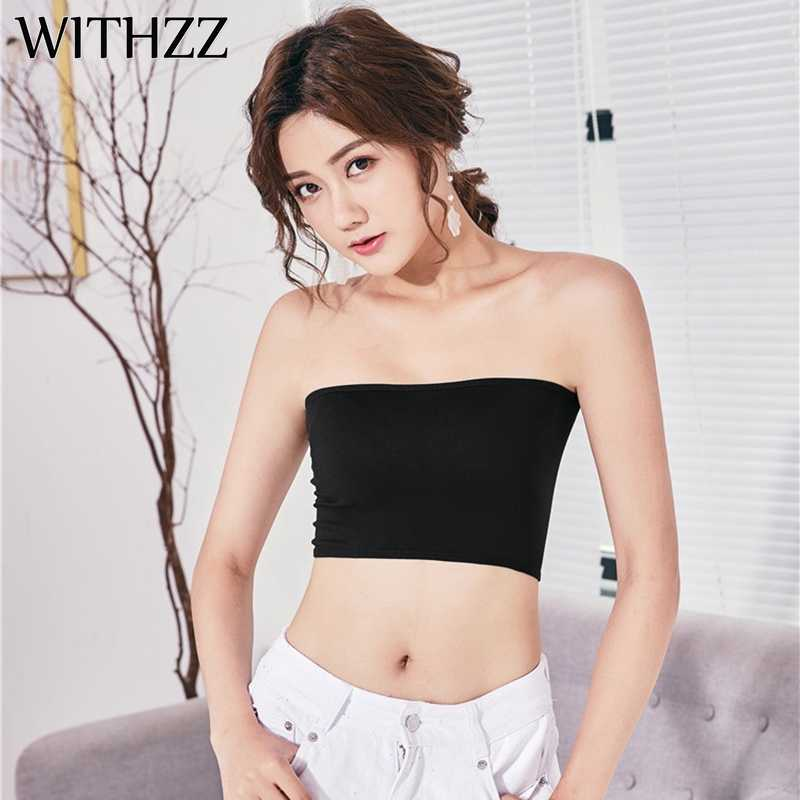 3de1bd9cbba WITHZZ Women's Strapless Black White Camisole Female Tube Top Wrapped  Breast Topic Bandeau Wrap Off Shoulder Modal Material